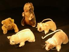 932: 5 STEIFF MOHAIR MINIATURE ANIMALS MICE BEAVER BEAR