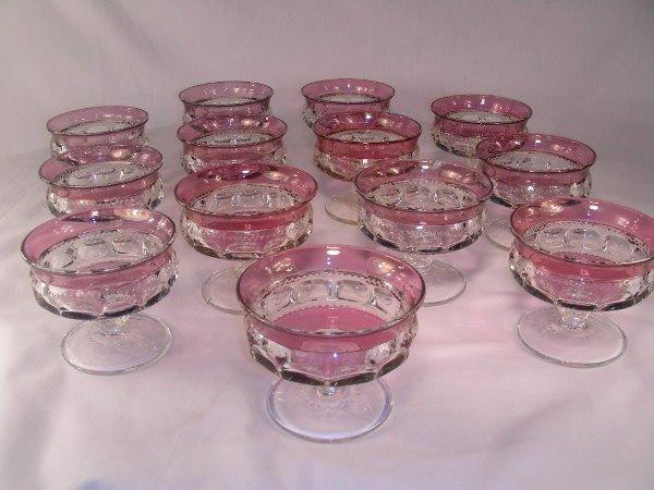 13: 13 PC CRANBERRY FLASH PRESSED GLASS DESSERT CUPS
