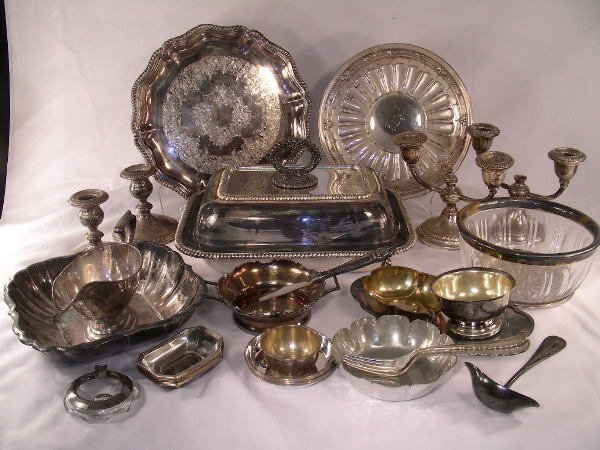17: GROUP LOT ASST STERLING SILVER PLATE PEWTER 34 PCS