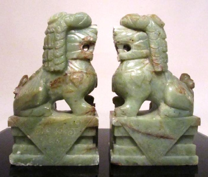 PAIR CHINESE CARVED JADE FOO DOGS GUARDIANS