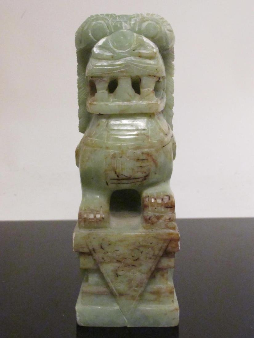 PAIR CHINESE CARVED JADE FOO DOGS GUARDIANS - 5