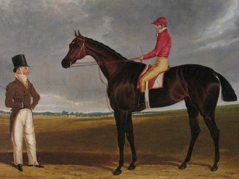 ANTIQUE EQUESTRIAN JOCKEY OIL ON CANVAS PAINTING - 2