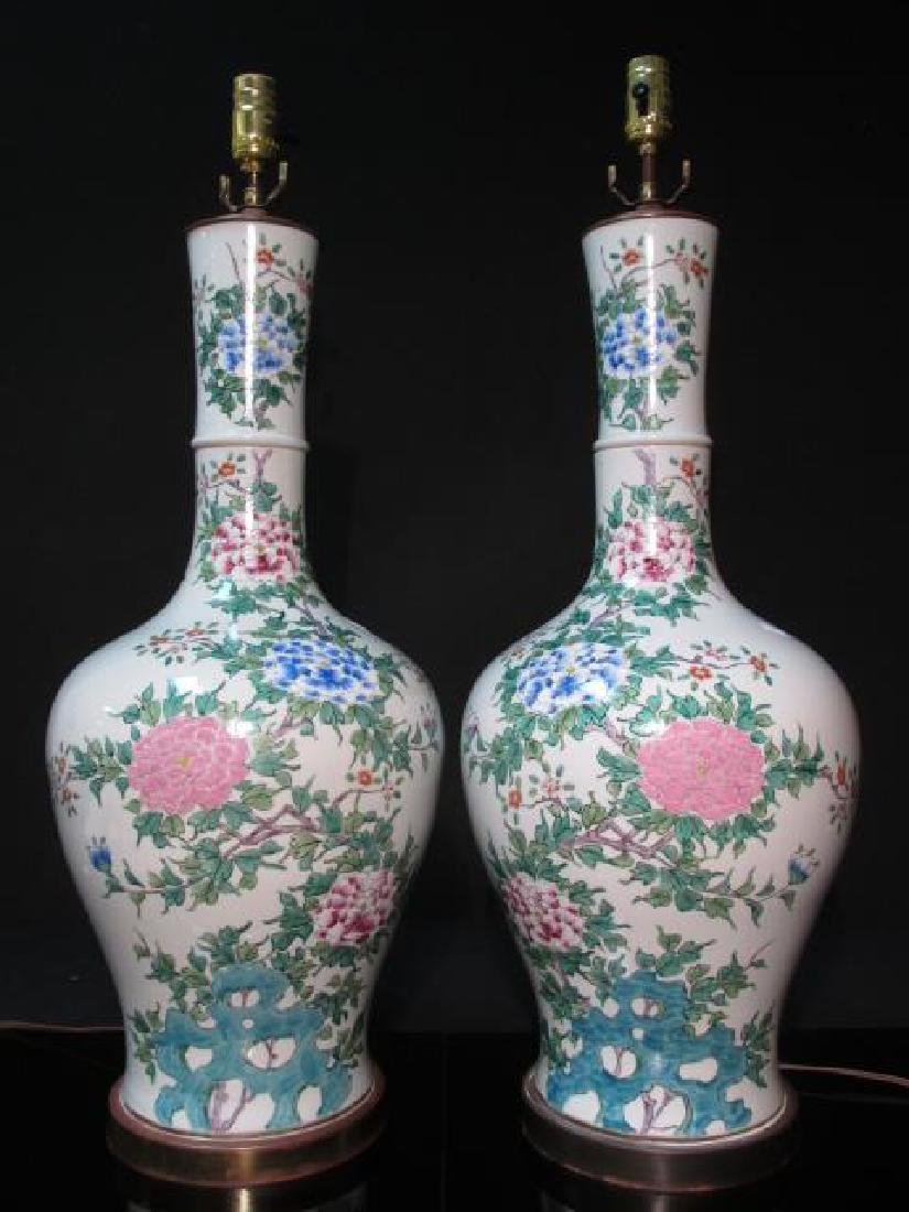 PAIR CHINESE FAMILLE ROSE PORCELAIN LAMPS
