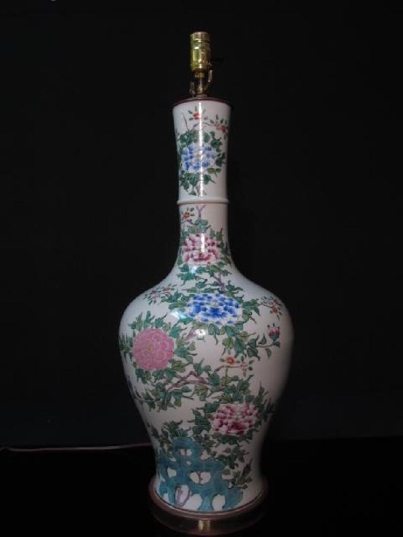 PAIR CHINESE FAMILLE ROSE PORCELAIN LAMPS - 2