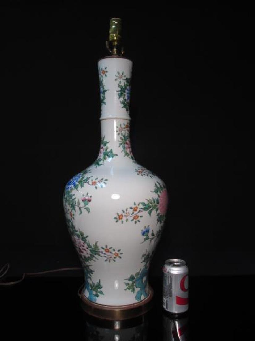 PAIR CHINESE FAMILLE ROSE PORCELAIN LAMPS - 6