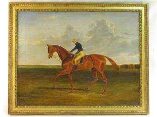 ANTIQUE EQUESTRIAN JOCKEY OIL ON CANVAS PAINTING