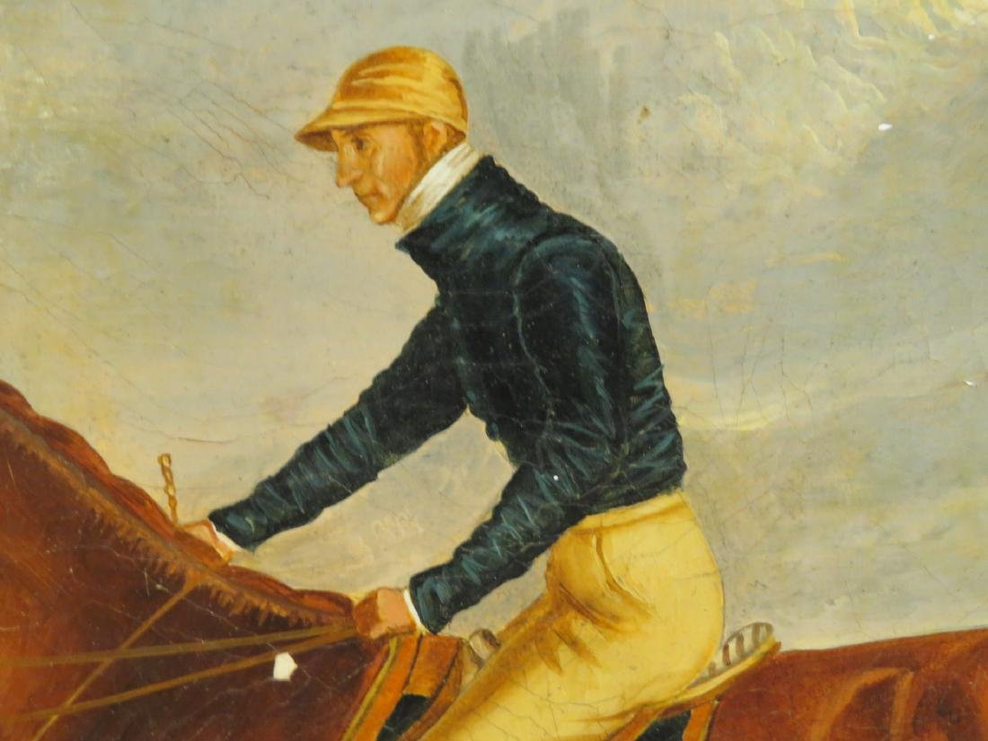 ANTIQUE EQUESTRIAN JOCKEY OIL ON CANVAS PAINTING - 5