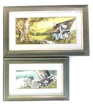 TWO A.E. RUFFING FRAMED WATERCOLOR PAINTINGS