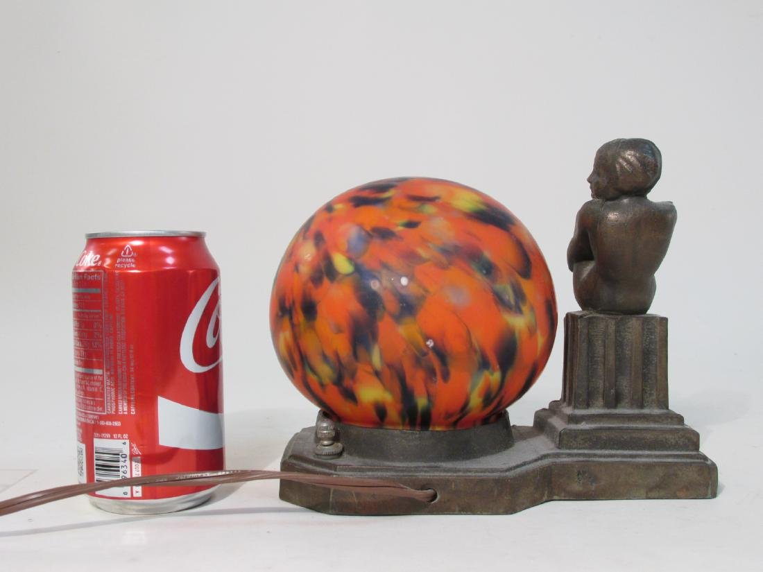 ART DECO METAL & ART GLASS BOUDOIR LAMP - 3
