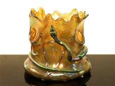 """LOETZ """"TREE TRUNK"""" IRIDESCENT ART GLASS VASE SNAKE"""