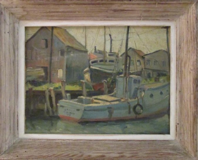 EMILY HORTENSE BUDELL OIL ON PANEL PAINTING -DOCKS