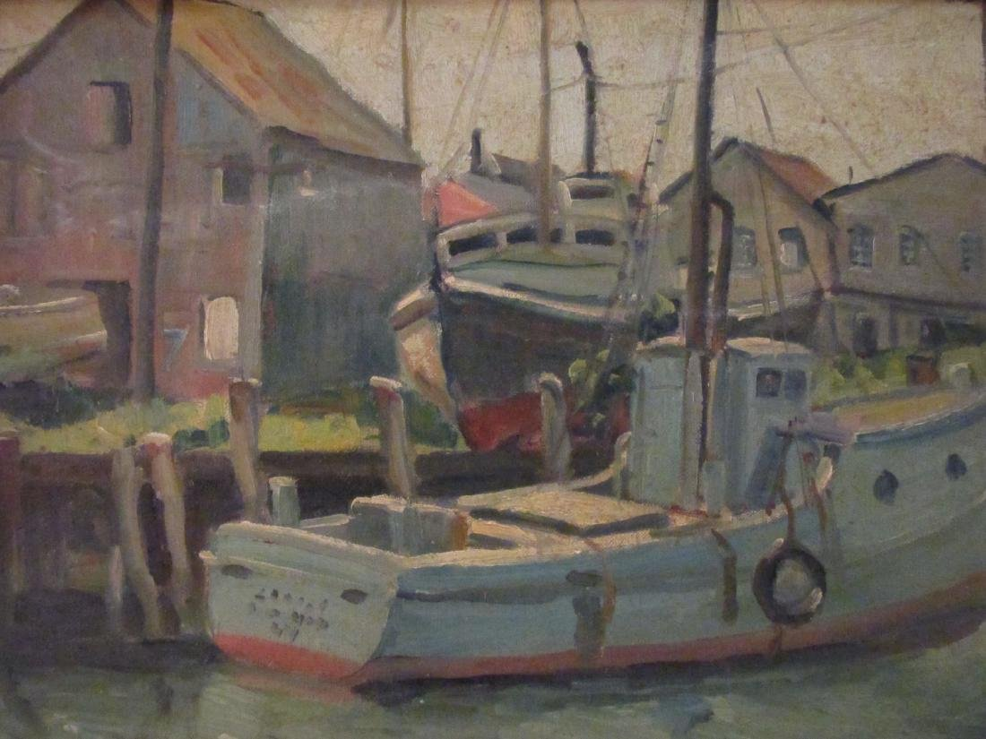 EMILY HORTENSE BUDELL OIL ON PANEL PAINTING -DOCKS - 2