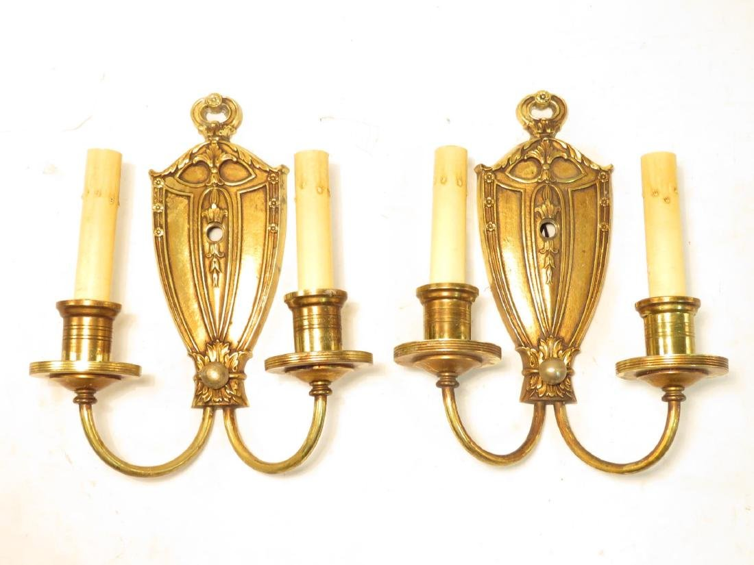 PAIR GILT BRONZE DOUBLE LIGHT WALL SCONCES