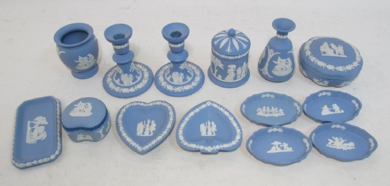 WEDGWOOD BLUE JASPERWARE POTTERY 14 PCS