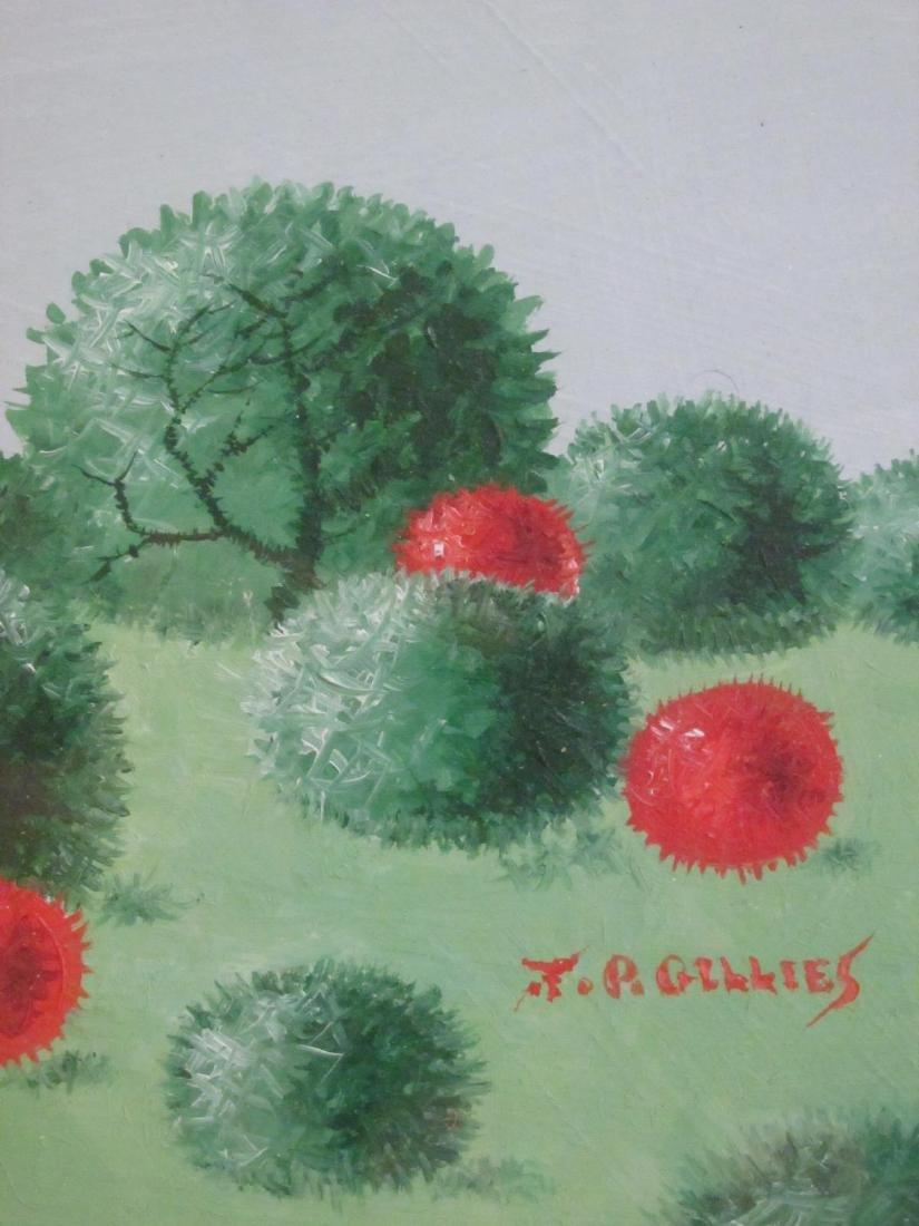 FOUR J.P. GILLIES ACRYLIC PAINTINGS - 4