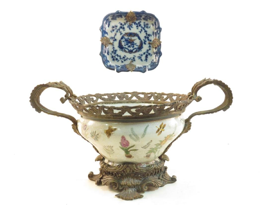 BRONZE MOUNTED PORCELAIN CENTER BOWL & SMALL DISH