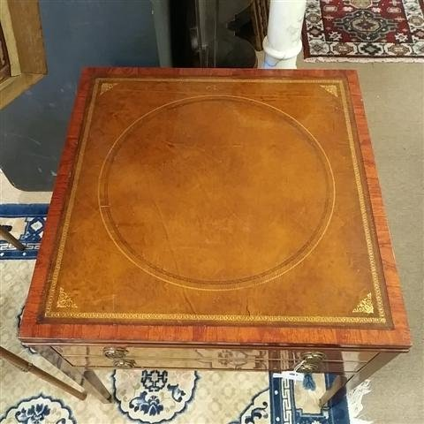 FEDERAL STYLE LEATHER TOP SIDE TABLE - 2