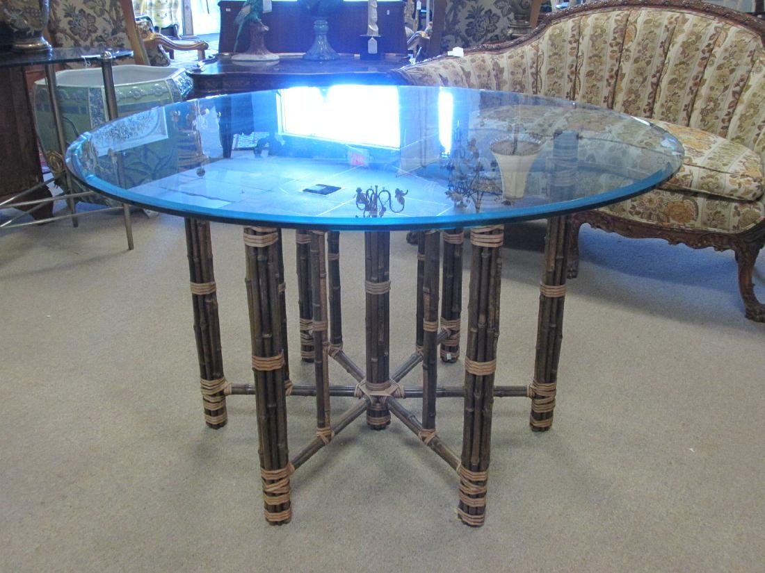MCGUIRE BAMBOO GLASS TOP DINING TABLE