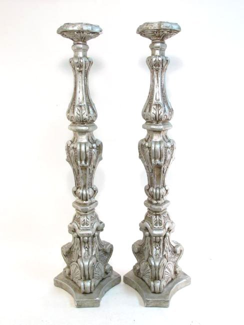 PAIR LARGE CAST PLASTER PEDESTAL CANDLESTICKS