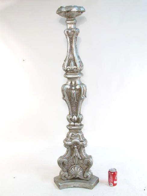 PAIR LARGE CAST PLASTER PEDESTAL CANDLESTICKS - 2