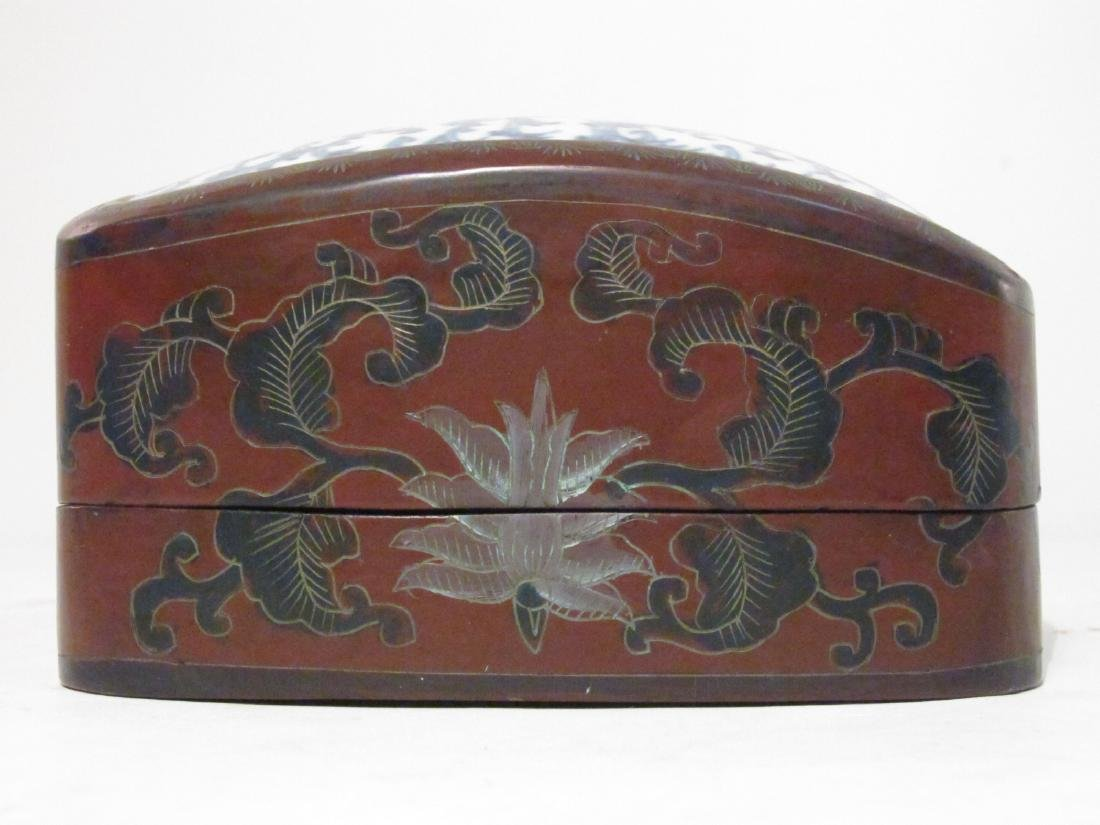 PAIR CHINESE FAMILLE NOIRE POTS / PLANTERS & A BOX - 9