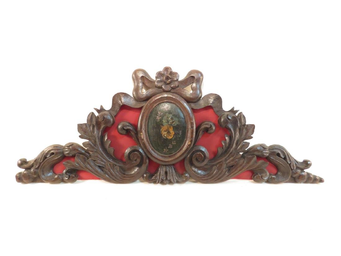ANTIQUE CARVED & PAINTED WOODEN CREST