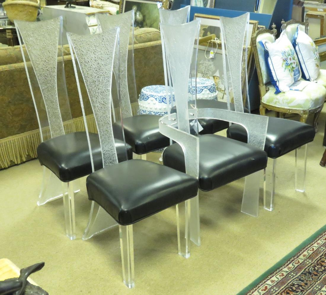 SIX VINTAGE LUCITE DINING CHAIRS