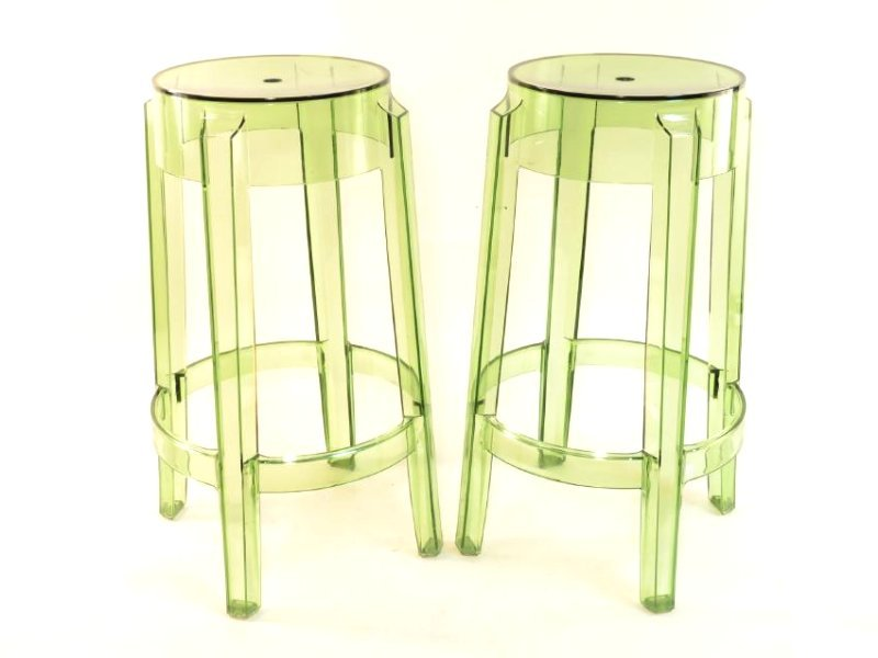 PAIR KARTELL CHARLES GHOST STOOLS - CLEAR GREEN