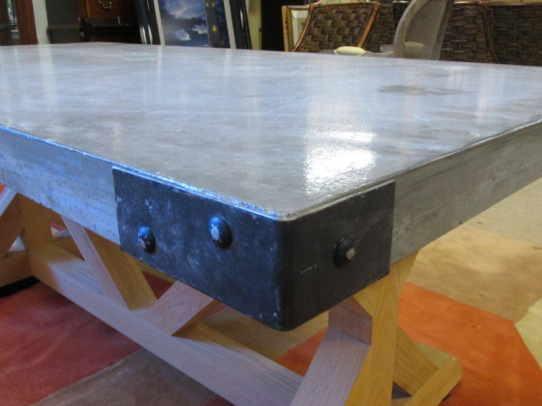 LARGE & HEAVY CONCRETE DINING TABLE - 3