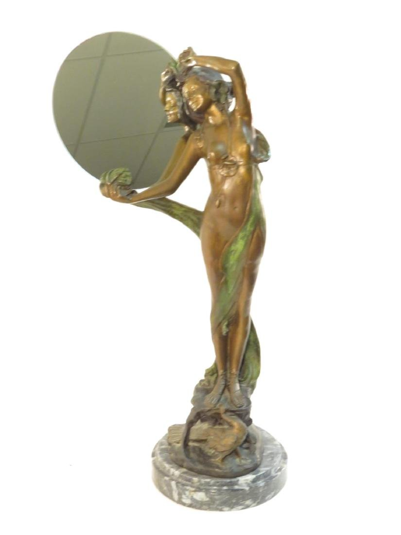 ART NOUVEAU BRONZE SCULPTURE: NUDE FEMALE MIRROR