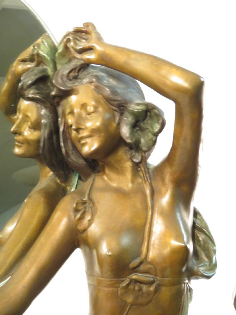ART NOUVEAU BRONZE SCULPTURE: NUDE FEMALE MIRROR - 2