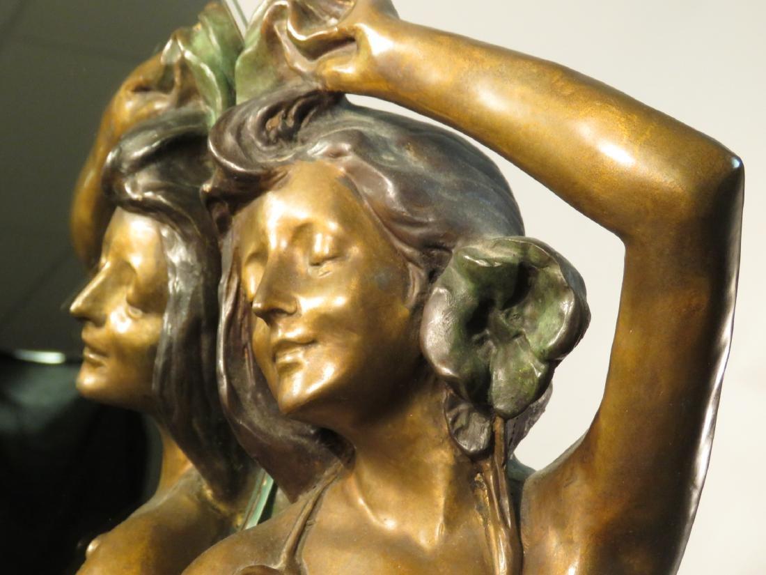 ART NOUVEAU BRONZE SCULPTURE: NUDE FEMALE MIRROR - 3