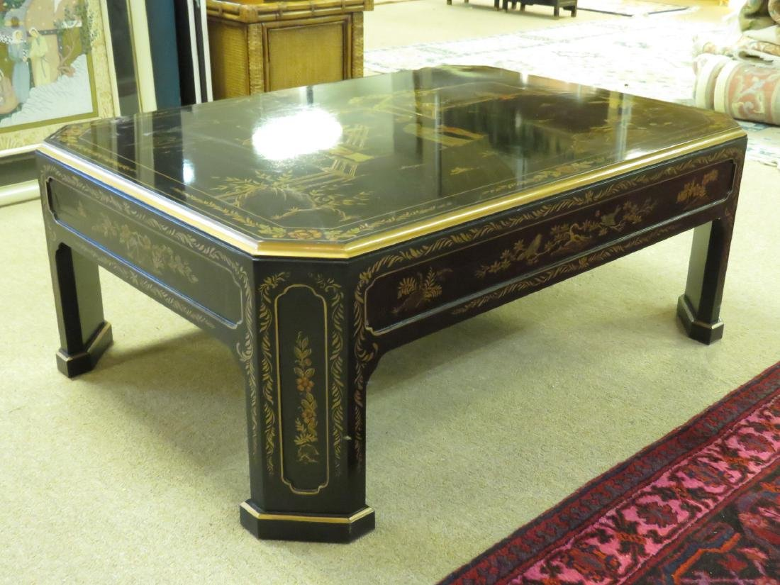 C. SPENCER CHINOISERIE BLACK LACQUER COFFEE TABLE