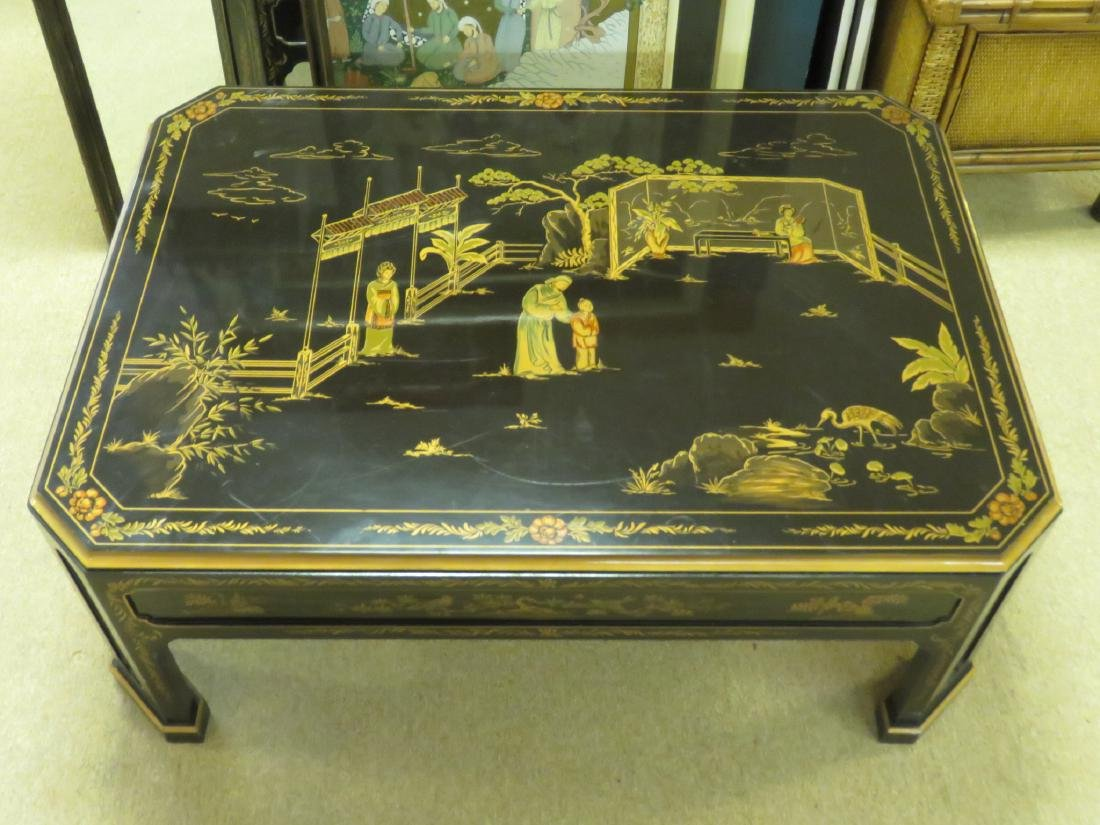 C. SPENCER CHINOISERIE BLACK LACQUER COFFEE TABLE - 2