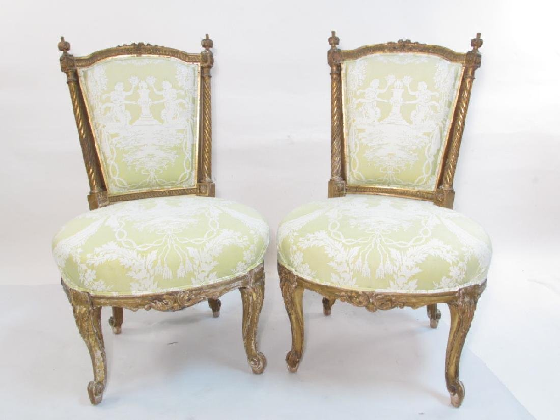 PAIR ANTIQUE LOUIS XV GILTWOOD SIDE CHAIRS