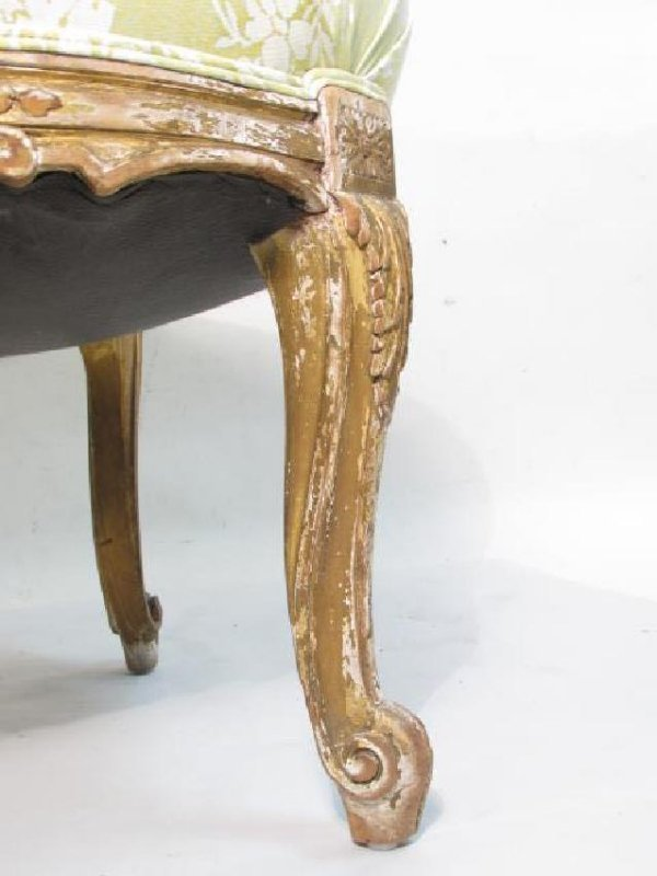 PAIR ANTIQUE LOUIS XV GILTWOOD SIDE CHAIRS - 7