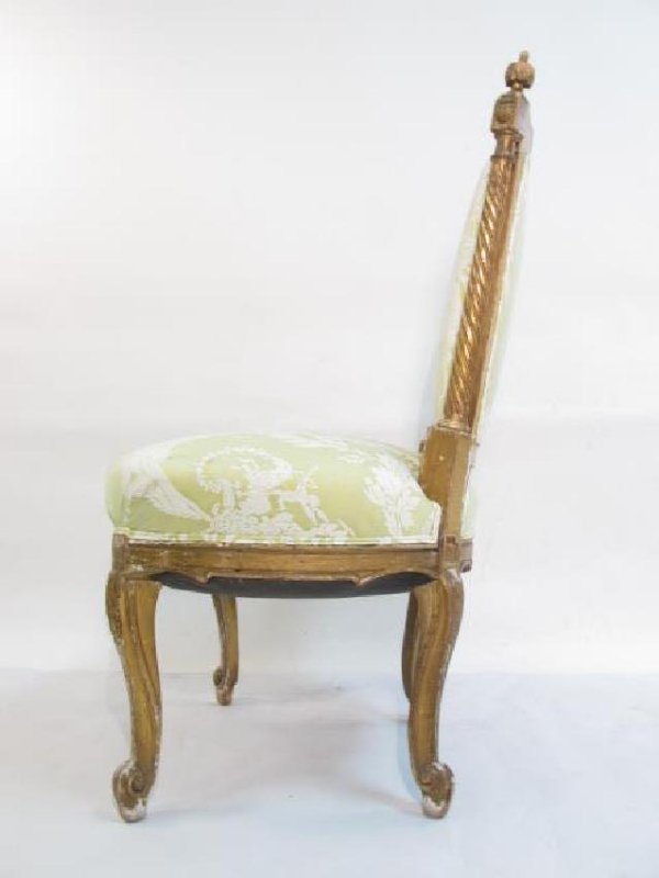 PAIR ANTIQUE LOUIS XV GILTWOOD SIDE CHAIRS - 8