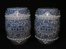 PAIR CHINESE BLUE & WHITE GARDEN STOOLS