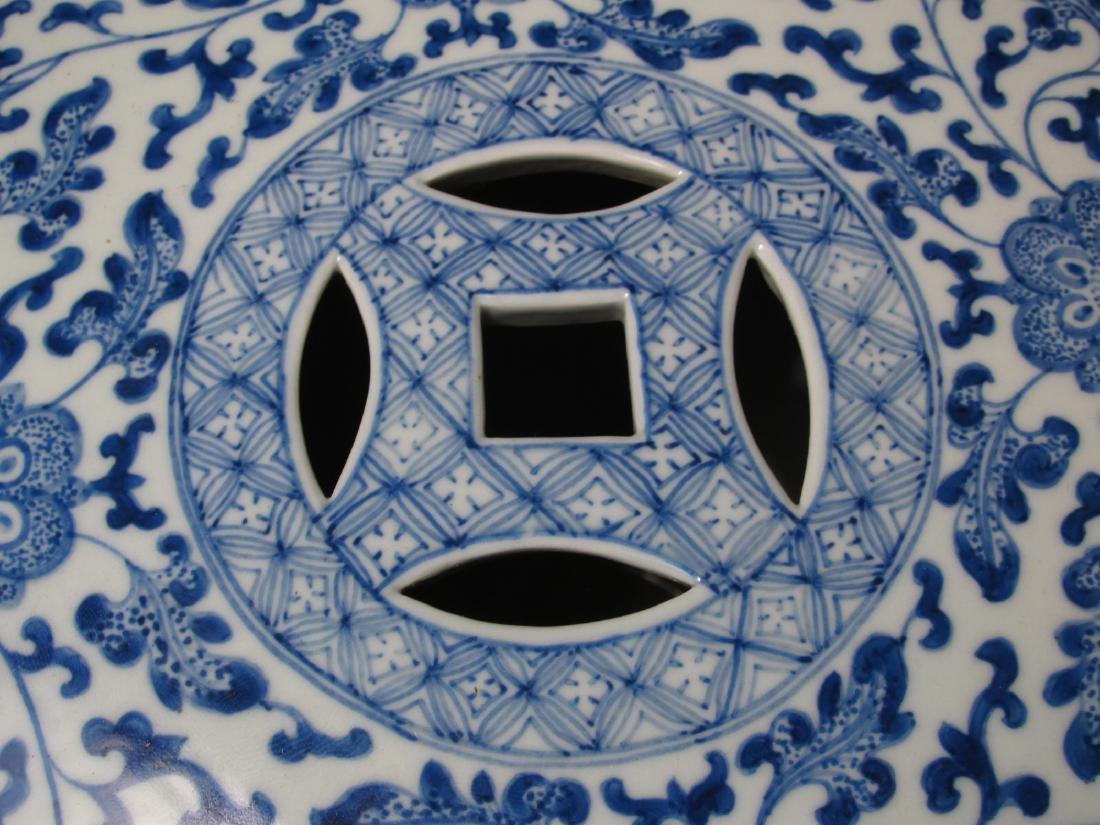 PAIR CHINESE BLUE & WHITE GARDEN STOOLS - 2
