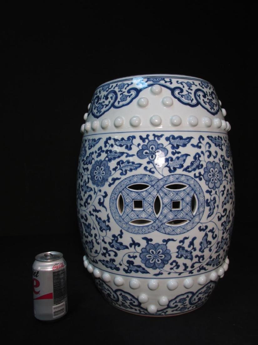 PAIR CHINESE BLUE & WHITE GARDEN STOOLS - 5