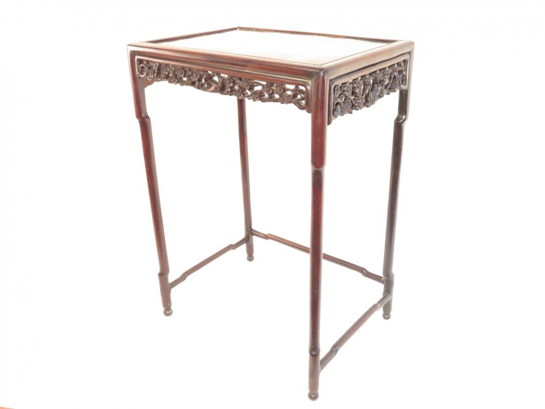 ANTIQUE CHINESE CARVED ROSEWOOD SIDE TABLE