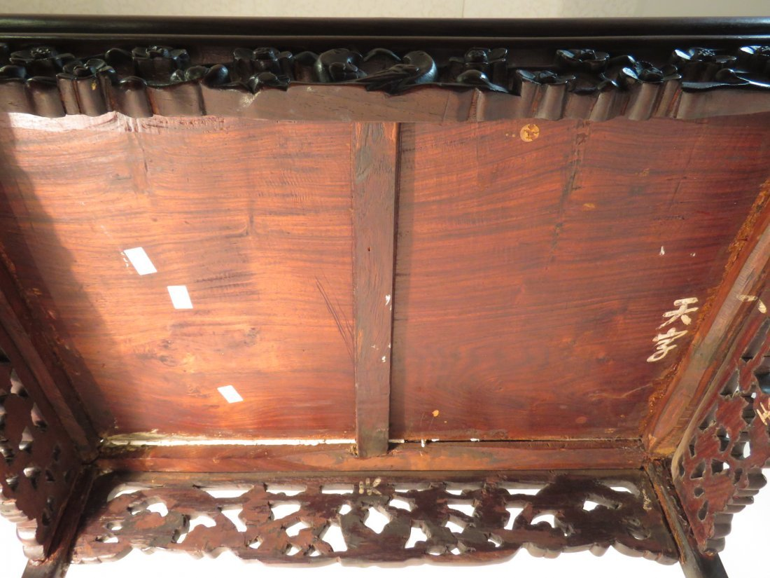 ANTIQUE CHINESE CARVED ROSEWOOD SIDE TABLE - 5