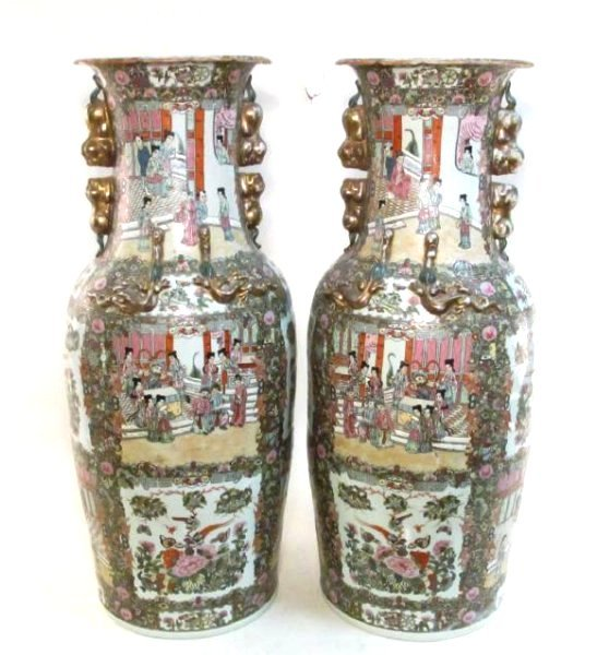PAIR CHINESE QIANLONG FAMILLE ROSE FLOOR VASES