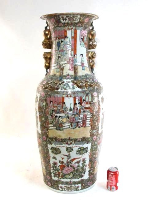 PAIR CHINESE QIANLONG FAMILLE ROSE FLOOR VASES - 2