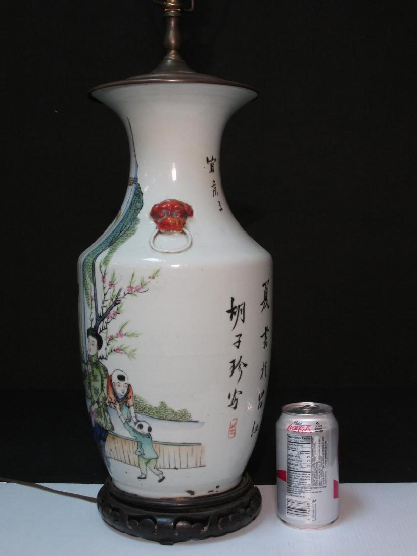 CHINESE FAMILLE ROSE PORCELAIN VASE AS TABLE LAMP - 12