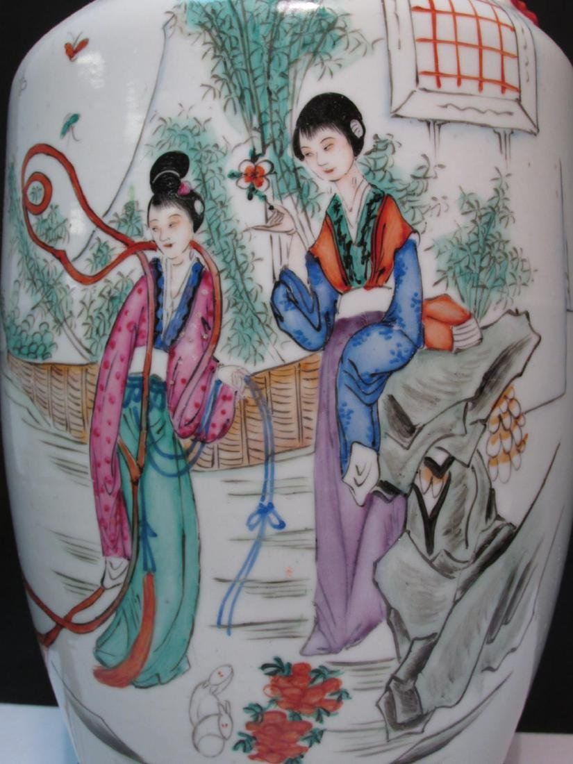 CHINESE FAMILLE ROSE PORCELAIN VASE AS TABLE LAMP - 5