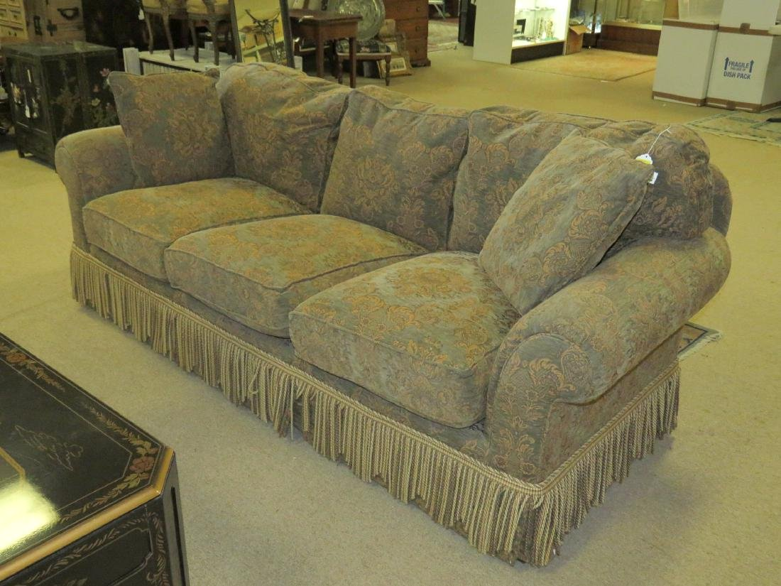 LARGE BROWN & GREEN FLORAL FABRIC SOFA