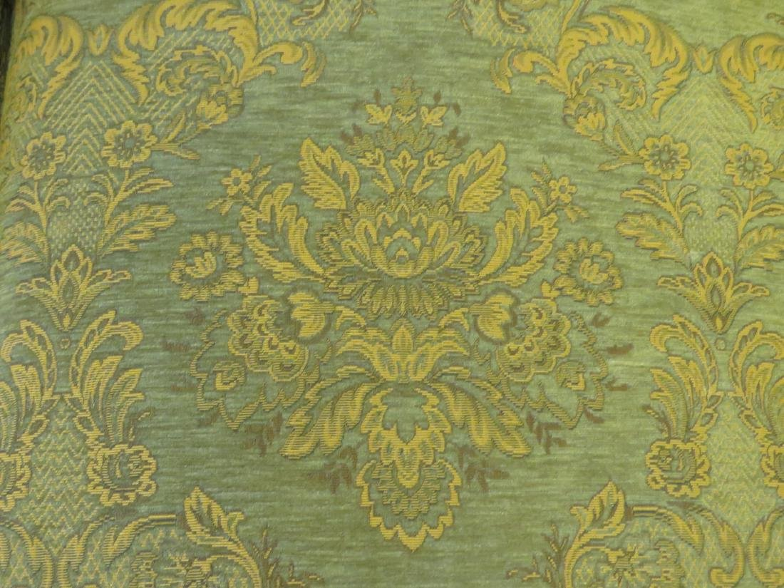LARGE BROWN & GREEN FLORAL FABRIC SOFA - 2