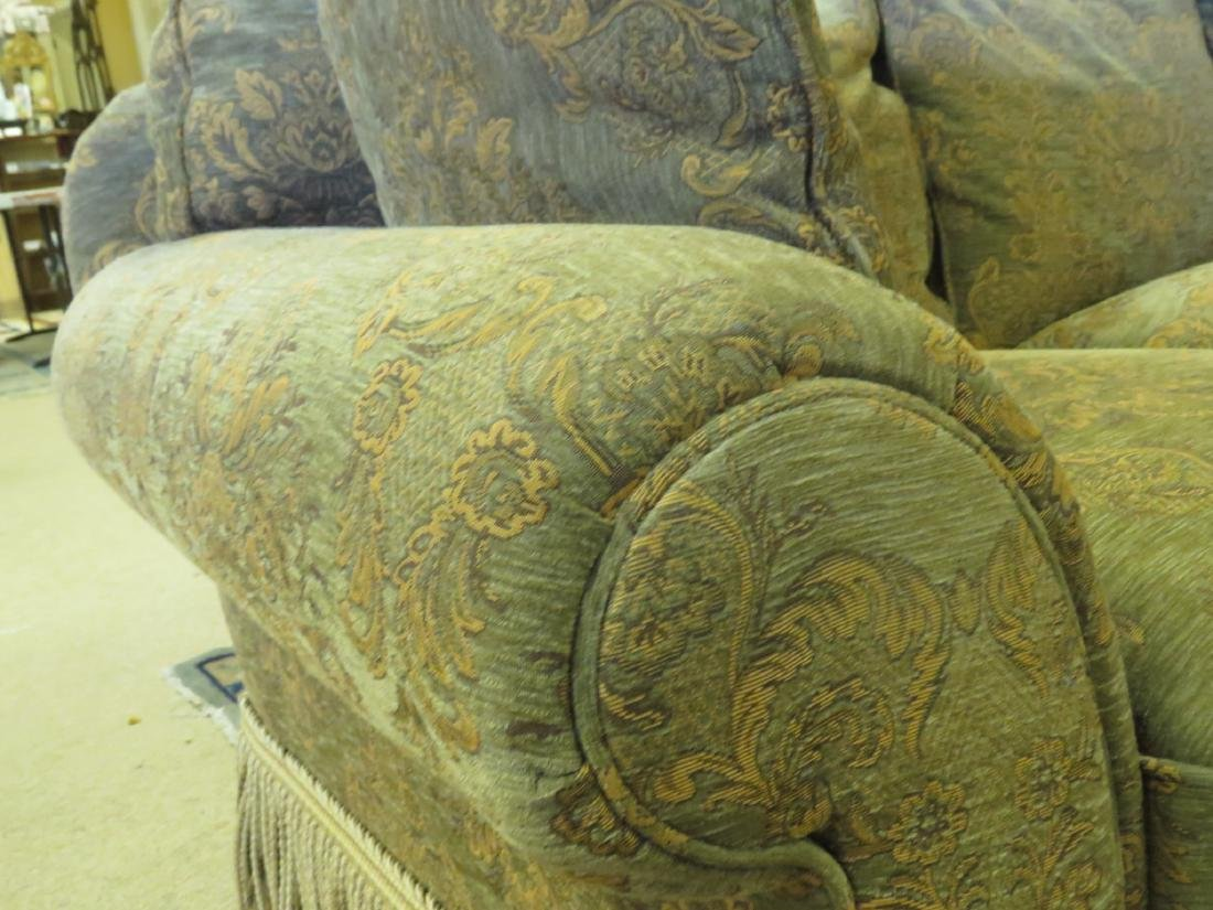 LARGE BROWN & GREEN FLORAL FABRIC SOFA - 3