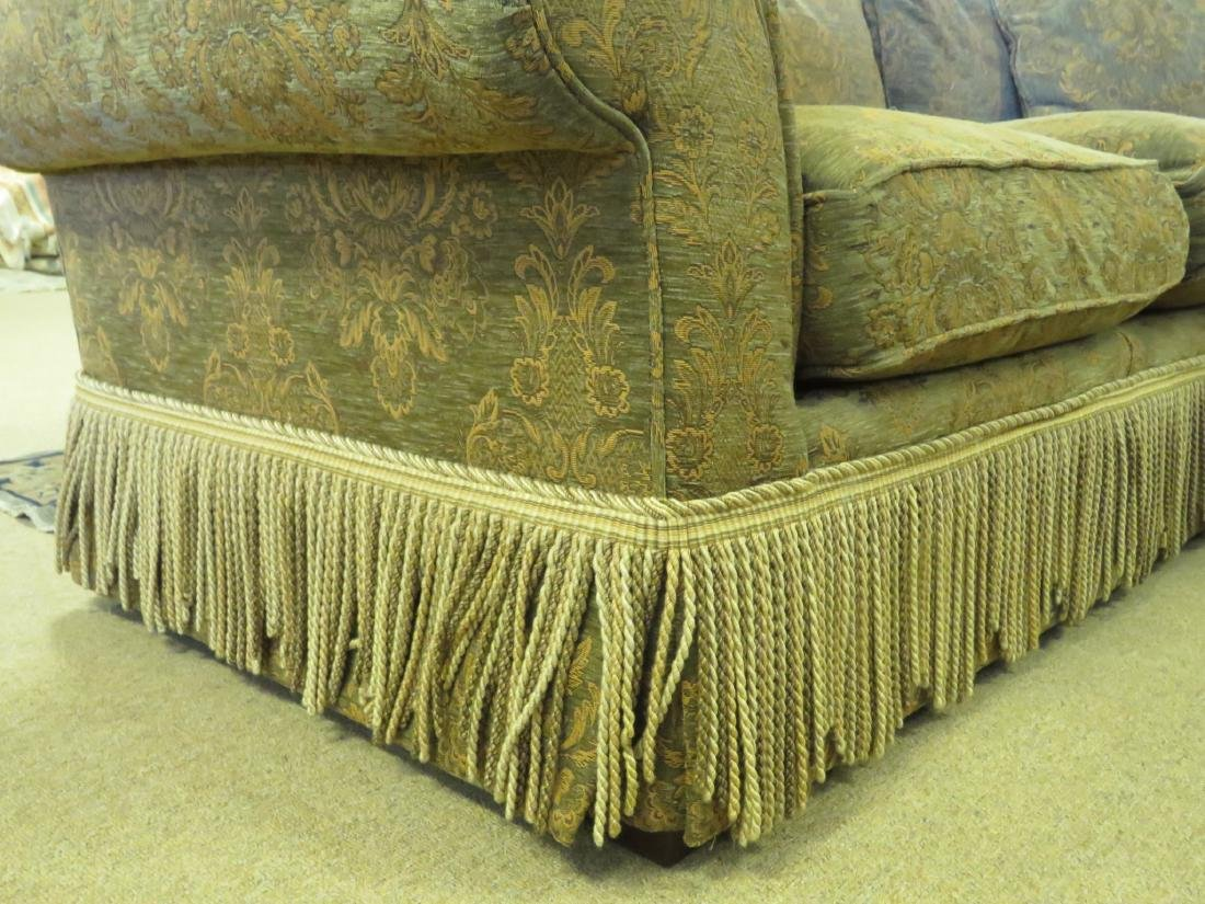 LARGE BROWN & GREEN FLORAL FABRIC SOFA - 4